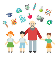 Teacher and children, miscellaneous student in flat style