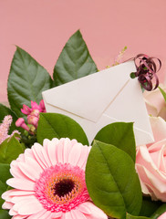 Pink Flower Bouquet with Card