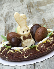Easter Cake with Bunny and Eggs