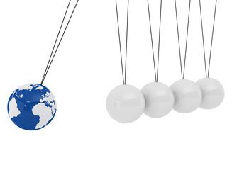 Pendulum three-dimensional white spheres and globe