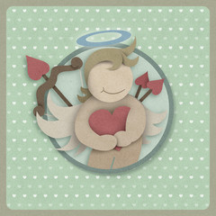 Cupid hug red love heart on retro background, recycled paper cra