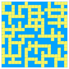 Crossword template in yellow and blue