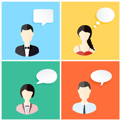 People icons with dialog speech bubbles