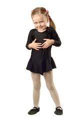 Little Girl dancer isolated on White Background