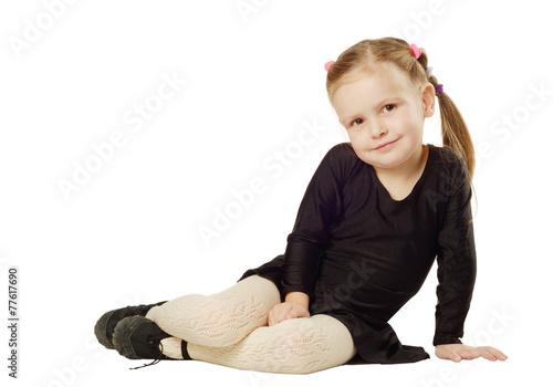 Plexiglas Little Girl dancer sits on White Background