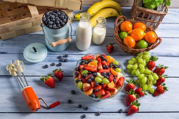 Preparing a healthy fruit salad