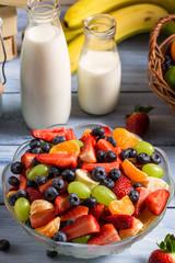 Closeup of fresh healthy fruits salad
