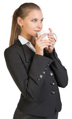 Businesswoman holding mug
