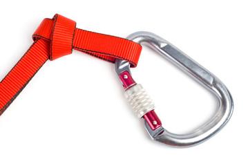 Climbing equipment - carabiner and rope