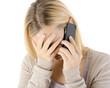 Leinwanddruck Bild - Frau telefoniert mit Telefonseelsorge