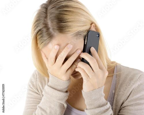 Leinwanddruck Bild Frau telefoniert mit Telefonseelsorge
