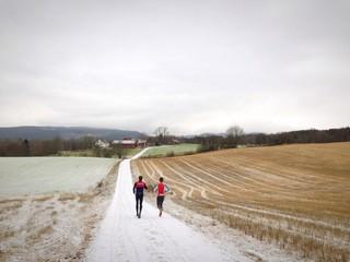 winter running in the fields