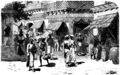 Street Scene : India - 19th century