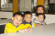 Group of cute little children in the classroom