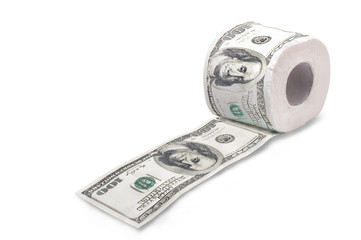 Toilet paper money dollar