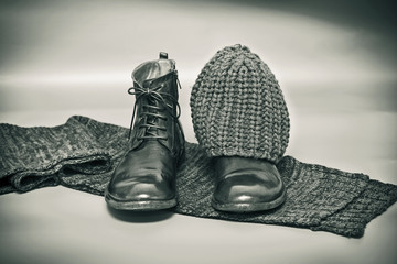 Fashion leather shoes, knitted scarf and hat