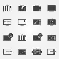 TV repair or service icons set