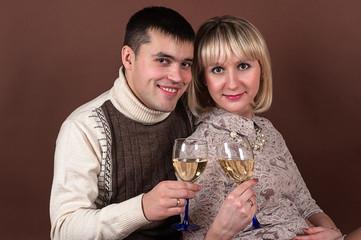 happy couple celebrates