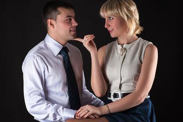 attractive woman seduces a man