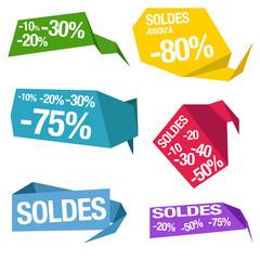 badges promotions bulles réductions vente soldes