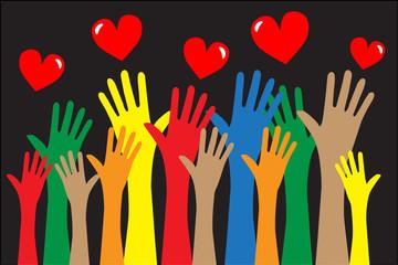 reaching hands love freedom diversity