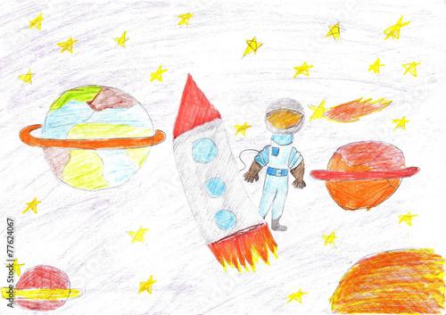 Tuinposter Ruimtelijk Children drawing space planet rocket