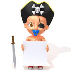 Baby Jake pirate 3d illustration