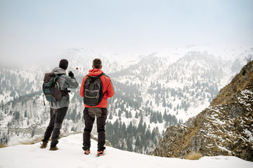 Hikers admiring the winter landscape