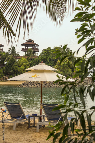 relax on the beach and far temple