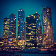 Illuminated Skyscrapers Buildings of Moscow City business comple