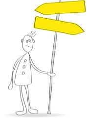 Mann mit Blanko-Schildern, Vektor