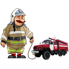 cartoon firefighter with fire engine