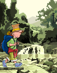 cartoon tourist with a backpack walking through the forest