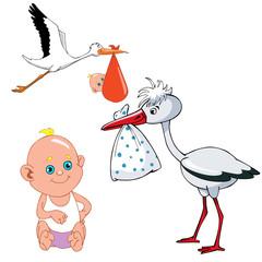 cartoon stork carries newborn baby