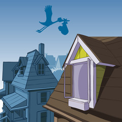 cartoon stork carries a bag with a child over the roofs