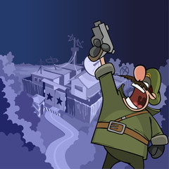 cartoon soldier shouting aiming a pistol at the top