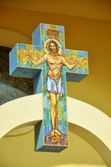 Jesus on cross, mosaic in a Greek Catholic church