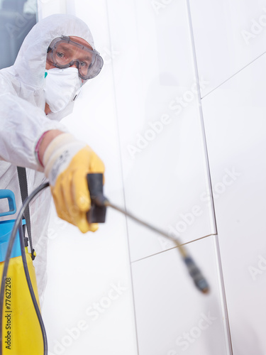 Pest controler works in the kitchen - 77627208