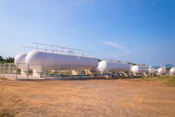 Natural Gas storage tanks in industrial plant.