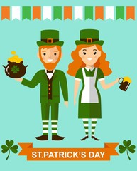 Beautiful leprechaun girl and man with beer, St. Patrick's Day