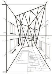 arhitectural linear sketch of a building