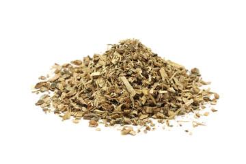 a handful of oak sawdust on a white background