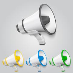 Set megaphone color. Vector