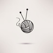 Woolen thread and needles, flat design vector. - 77629834