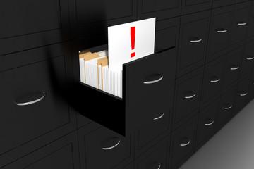 opened black file cabinet white document exclamation mark illust