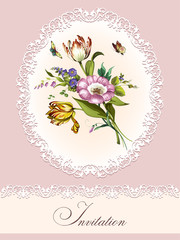 Vintage postcard with beautiful flowers
