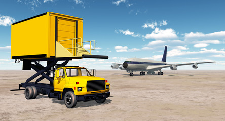 Airport catering truck and airliner