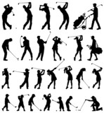 Golfer silhouettes vector collection poster