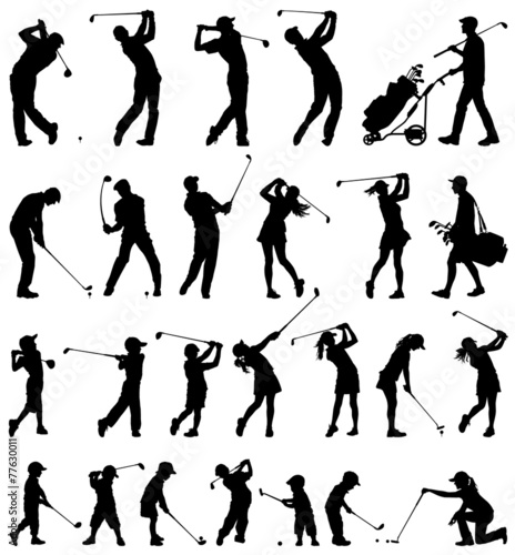 Fotobehang Sportwinkel Golfer silhouettes vector collection