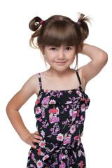 Cheerful fashion little girl